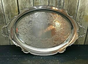 Vintage 1847 Rogers Bros Reflection 9282 Large I S Silver Plated 26 Platter