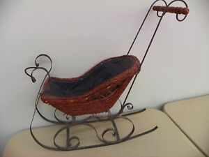 Antique Primitive Wicker Sleigh Display Christmas Or Doll Carriage