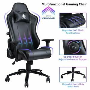 Big Tall Memory Foam Gaming Chair Ergonomic Leather Computer Desk Chair black