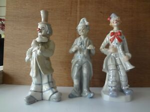 Group Of 3 Porcelain Figurine Clowns