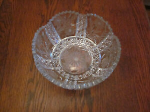 Antique Wheel Cut Crystal Large Bowl Flowers And Diamonds 8 Inches Wide