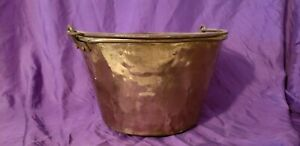 Antique Brass Bucket Kettle Pail Signature Worn Off