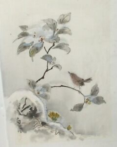 Chinese Birds On Blossoms Original Watercolor On Silk Painting 2