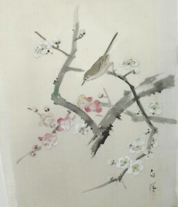 Chinese Birds On Blossoms Original Watercolor On Silk Painting 3