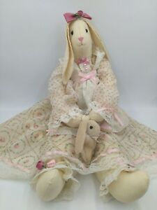 Handmade Christmas Country Chic Bunny Rabbit Raggedy Doll Shelf Sitter Roses