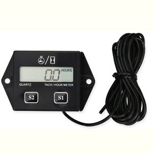 Digital Rpm Tach Hour Meter Tachometers Gauge Spark Plug For Motorcycle Tool