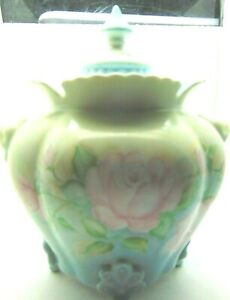 Antique Pale Blue Biscuit Jar Bowl Roses Footed Ruffled Lid Transferware F1