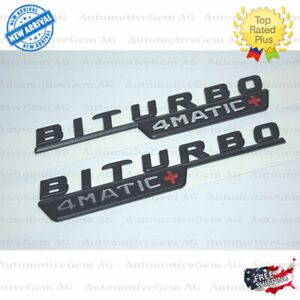 Mercedes Biturbo 4matic Plus Fender Amg Emblem Matte Black Nameplate