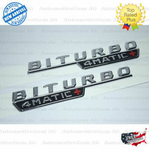 Mercedes Biturbo 4matic Plus Fender Amg Emblem Chrome Nameplate Model Plate