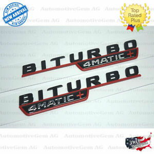 Mercedes Biturbo 4matic Plus Fender Amg Emblem Red Black Nameplate