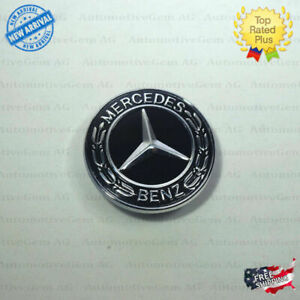 Mercedes benz Black Front Grill Emblem Badge Laurel Wreath Flat Logo A0008171901