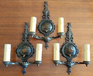 Lot Of Three 1412 Gothic Cast Bronze Iron Sconces 2 Light Ready To Use