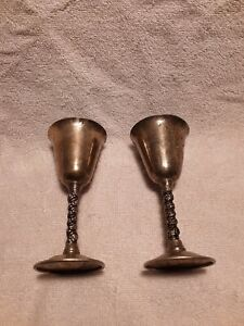 2 Vtg Fb Rogers Silver Plate Wine Water Goblets Glasses Twist Stem 5 Spain