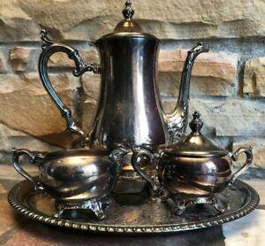 Wm Rogers Vintage 4 Piece Silver Plated Tea Coffee Set With Serving Platter