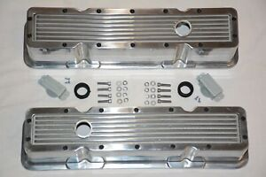 Polished Aluminum Finned Chevy Retro Nostalgia Tall Valve Covers 283 305 350 400