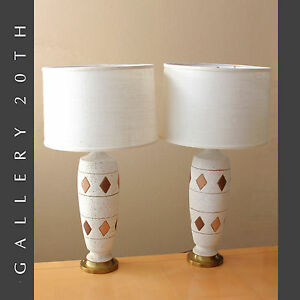 Stunning Pair Of Mid Century Modern Atomic Table Lamps Eames Vtg 50s Cream Gold