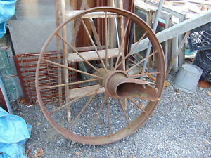 3 Antique Primitive Country Farm Cast Iron Metal Wagon Wheel 38 Around X 4