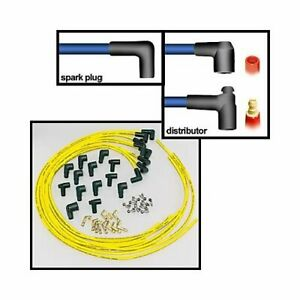 Moroso Spark Plug Wires Blue Max Spiral Core 8mm Yellow 90 Degree Boots Univ V8