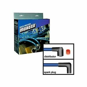 Moroso Spark Plug Wires Ultra 40 Spiral Core 8 65mm Blue 90 Deg Boots Chevy Bb