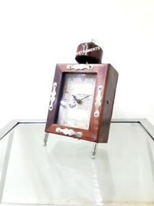 Collectible Nautical Wooden Table Clock Working Maritime Home Decor
