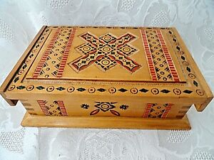Vintage Wooden Box Sewing Jewelry Box 18 X 12 X 6 Cm