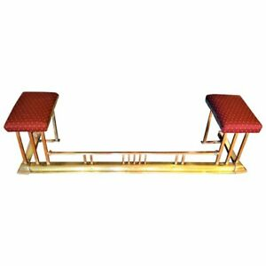 Antique Brass Fireplace Fender With Upholstered Seats