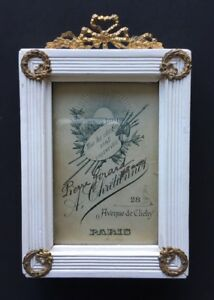 Antique French Empire Small Picture Frame Paris 1904 Bow Wreath W Card