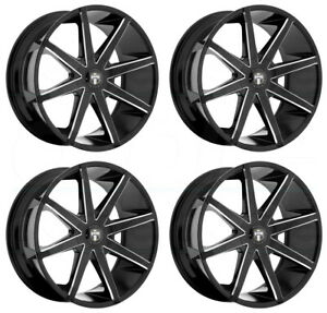 20x8 5 Dub Push S109 6x132 30 Black Milled Wheels Rims Set 4