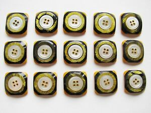Vintage Celluloid Buttons Ome Mop Centers 15 Piece Lot Yellow Black Shimmer