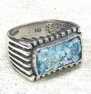 Roman Glass Fragments Ring Silver 925 New Ancient 200 B C Bluish Patina Israel