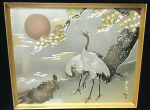 Japanese Turtle Swan And Moon Sculpted Mixed Metal Painting