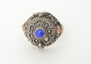 Antique Vintage Sterling Silver Rose Gold Lapis Art Deco Filigree Pill Box Ring
