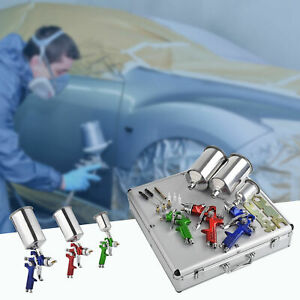 3 Hvlp Air Paint Auto Spray Gun Kit Detail Basecoat Car Primer Clearcoat W Case