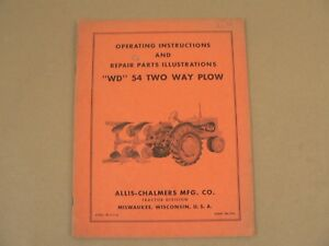 Allis Chalmers Wd 54 Two Way Plow Owners Manual Parts List Catalog Vintage