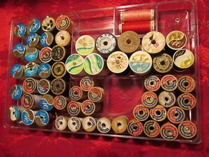 Vintage Antique Wood Spools Thread Coats Clark J P Coats