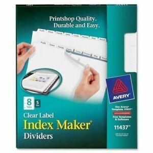 Avery Index Maker Clear Label Divider With 8 tabs 11437
