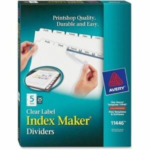 Avery Index Maker Clear Label Dividers With White Tabs 11446
