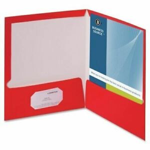 Business Source Two pocket Folders With Business Card Holder 44426