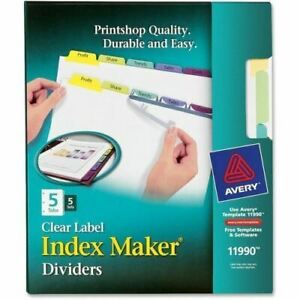 Avery 5 colored Tabs Presentation Divider 11990