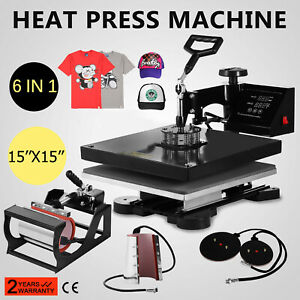 15 x15 T shirt Heat Press Transfer 6in1 Printing Multifunctional Clamshell