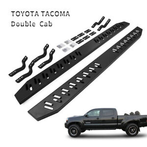 Side Step For 05 19 Toyota Tacoma Double Cab Running Boards Nerf Bar Black