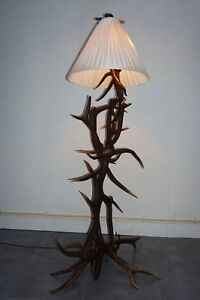 Antique Black Forest Real Antlers Floor Lamp W Silk Shade