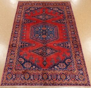 Persian Viss Tribal Hand Knotted Wool Red Blue Oriental Rug Carpet 7 X 10 6