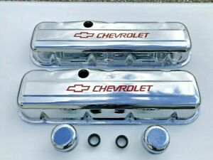 Chevrolet Chrome Steel Valve Covers With Breathers Tall Height Red Chevrolet
