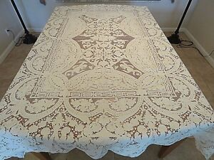 Antique Tablecloth White Needle Lace Angels Man Woman Flowers Urns Figural