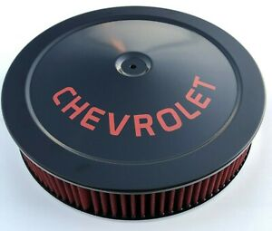 Chevrolet Air Cleaner Black Red Logo With Red Washable Filter Chevelle Camaro