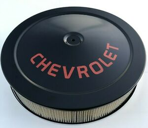 Chevrolet Air Cleaner Black Red Logo With White Performance Filter 14x3 Round