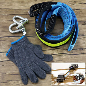 8t Heavy Duty Tow Rope Towing Pull Strap Winch Tree Strop Polyester Recovery