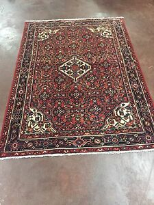 On Sale Semi Antique Hand Knotted Persian Geometric Area Rug Carpet 5x7 5 X6 7
