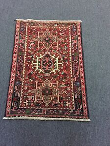 On Sale S Antique Hand Knotted Persian Gharajeh Rug Geometric Carpet 2x3 2464